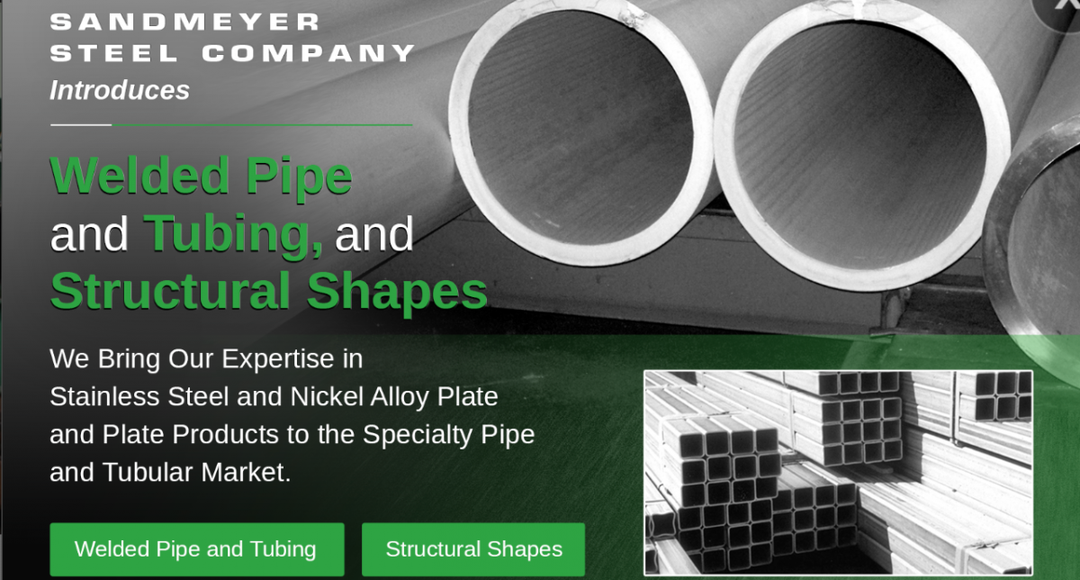 Sandmeyer Steel Company introduces Welded Pipe and Tubing, and Structural Shapes