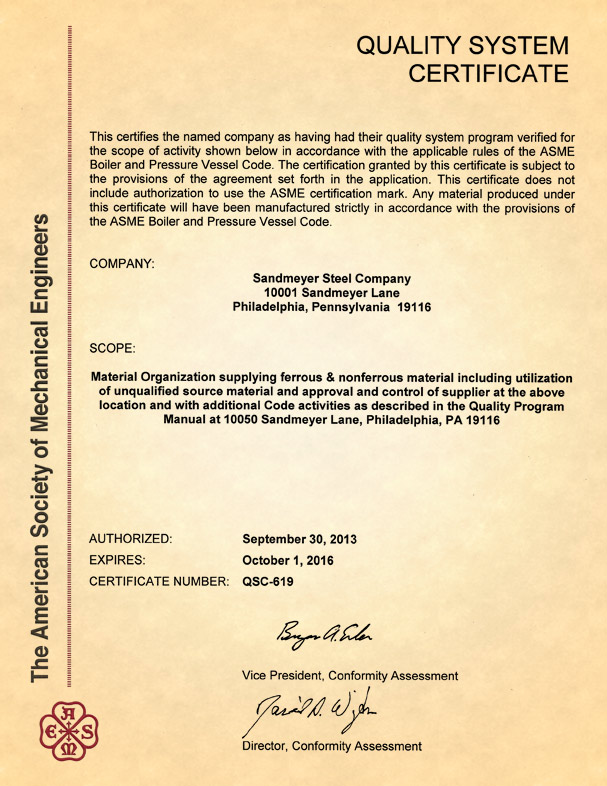 ASTM Quality System Certificate
